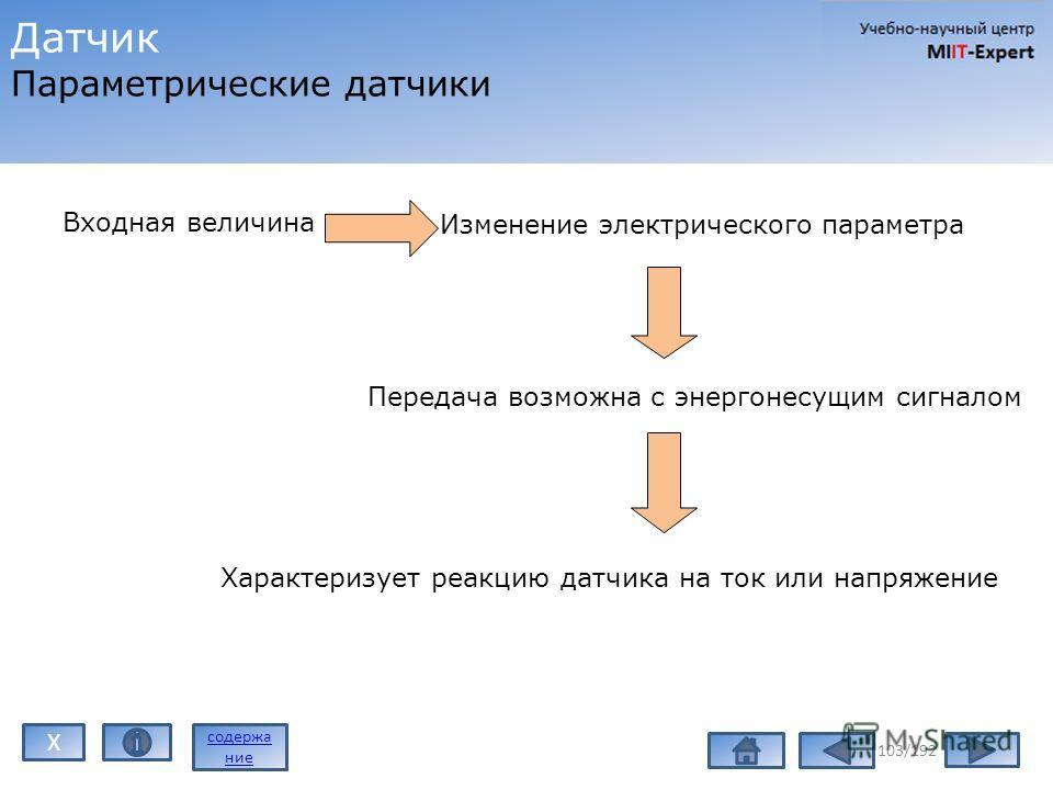 103/192 Датчик Параметрические датчики Входная величина Изменение электрического параметра Передача возможна с энергонесущим сигналом Характеризует реакцию датчика на ток или напряжение содержа ние X