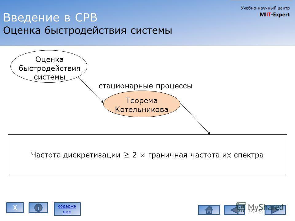 Введение в СРВ Оценка быстродействия системы 12/192 Оценка быстродействия системы Теорема Котельникова Частота дискретизации 2 × граничная частота их спектра стационарные процессы содержа ние X