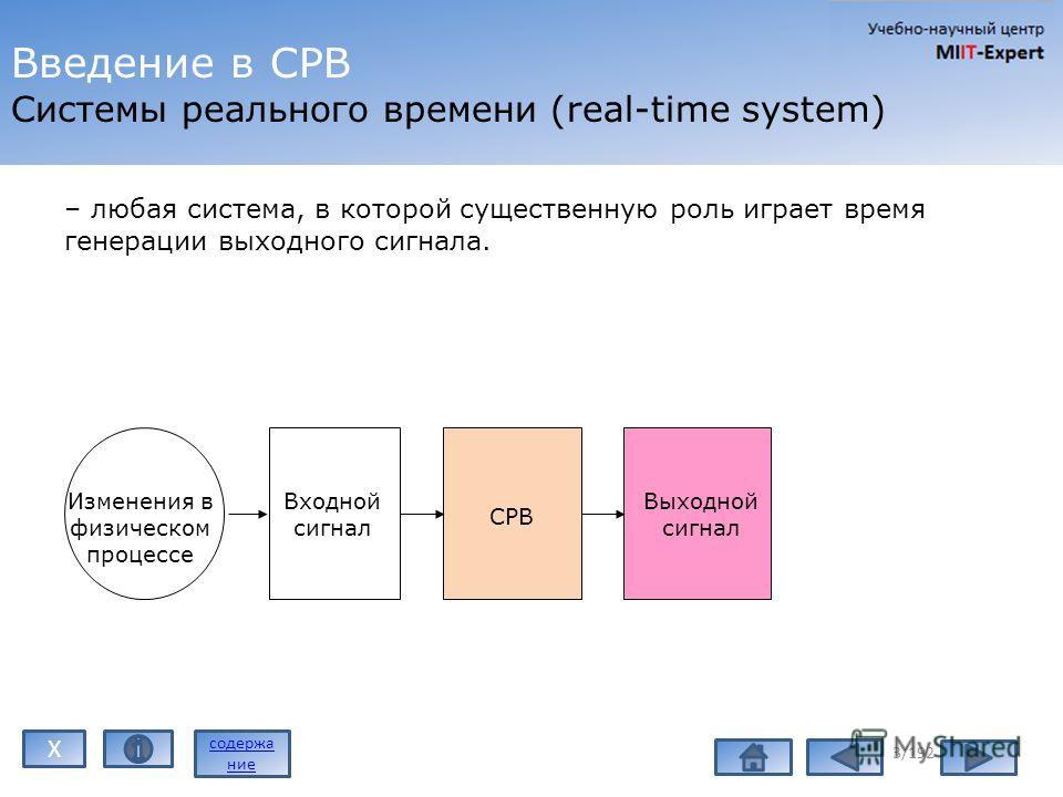 Введение в СРВ Системы реального времени (real-time system) – любая система, в которой существенную роль играет время генерации выходного сигнала. 3/192 Изменения в физическом процессе Входной сигнал СРВ Выходной сигнал содержа ние X