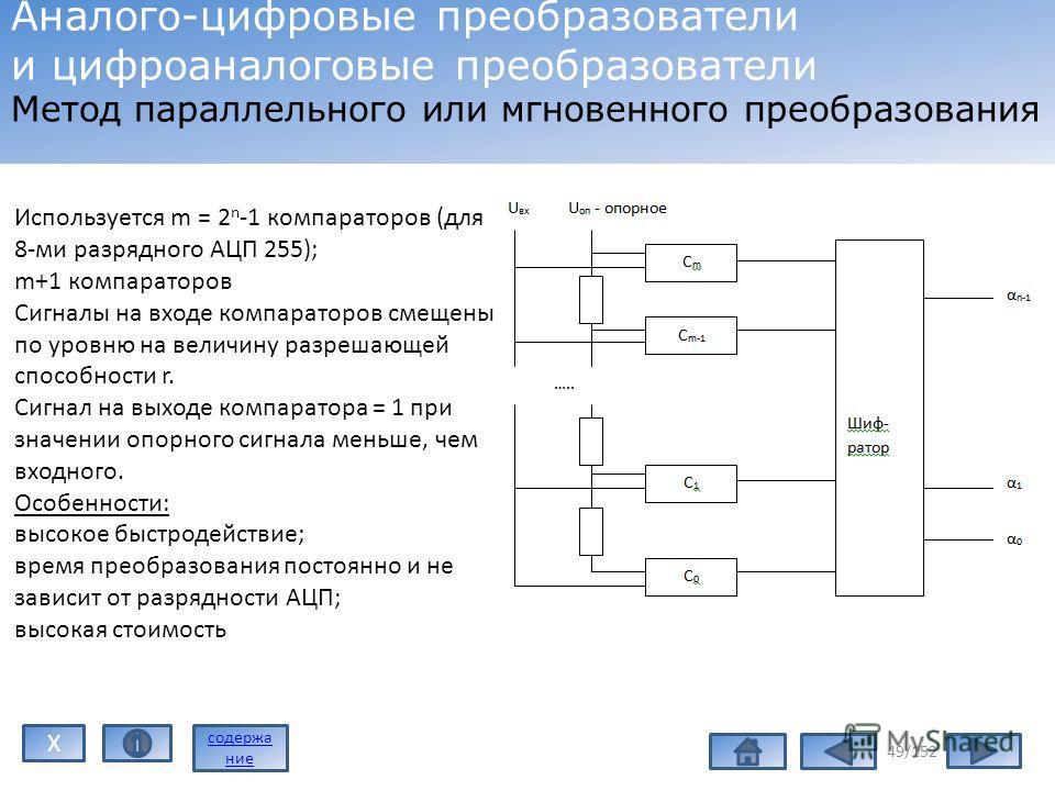 49/152 Аналого-цифровые преобразователи и цифроаналоговые преобразователи Метод параллельного или мгновенного преобразования Используется m = 2 n -1 компараторов (для 8-ми разрядного АЦП 255); m+1 компараторов Сигналы на входе компараторов смещены по
