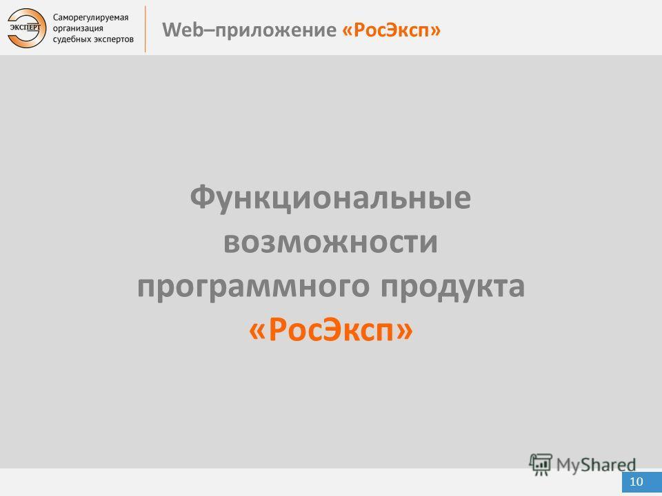 Web–приложение «РосЭксп» 10 Функциональные возможности программного продукта «РосЭксп»