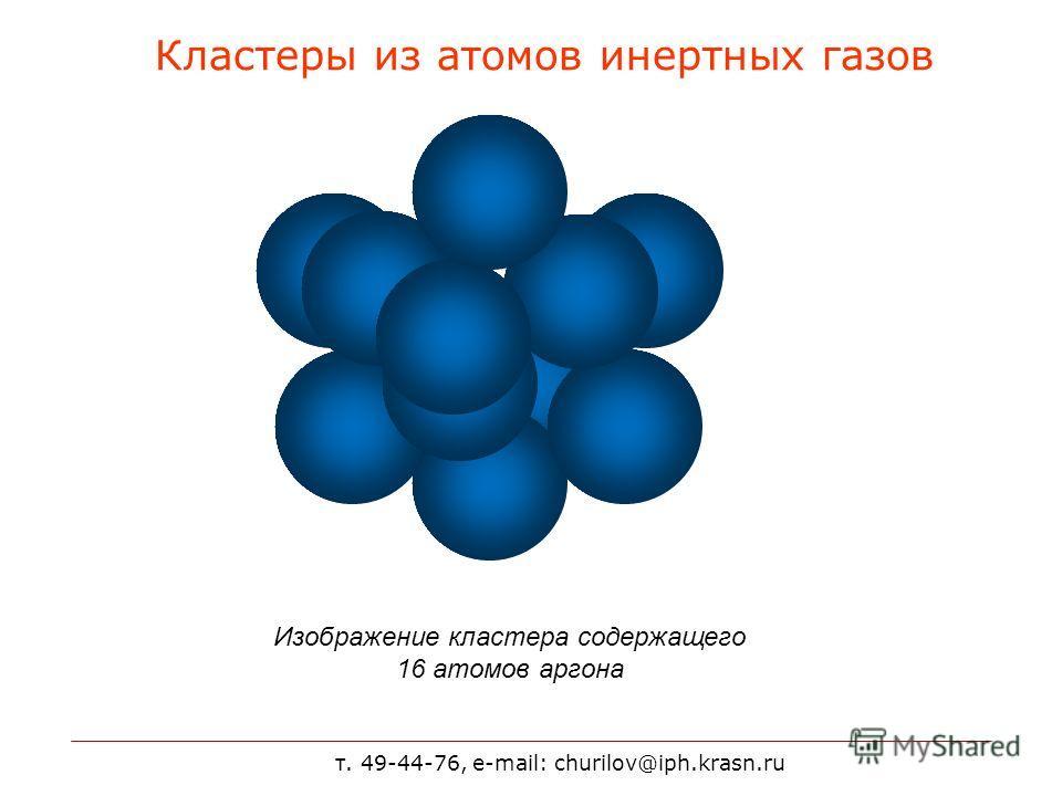 т. 49-44-76, e-mail: churilov@iph.krasn.ru Кластеры из атомов инертных газов Изображение кластера содержащего 16 атомов аргона