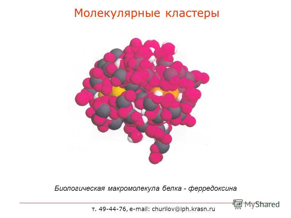 т. 49-44-76, e-mail: churilov@iph.krasn.ru Молекулярные кластеры Биологическая макромолекула белка - ферредоксина