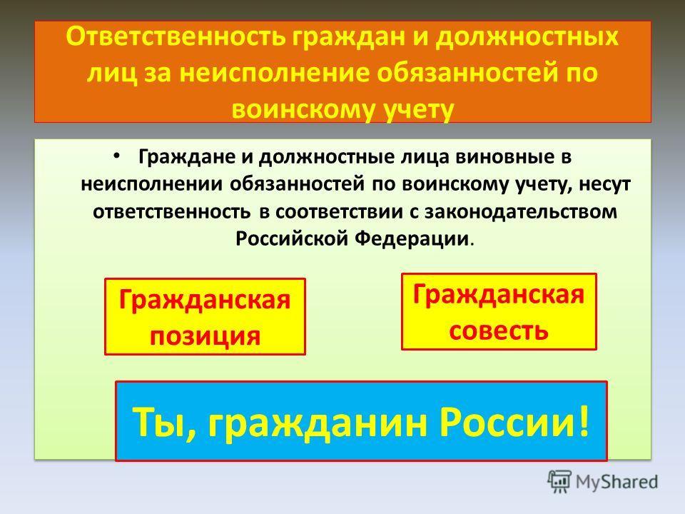 Ответственность граждан и должностных лиц за неисполнение обязанностей по воинскому учету Граждане и должностные лица виновные в неисполнении обязанностей по воинскому учету, несут ответственность в соответствии с законодательством Российской Федерац