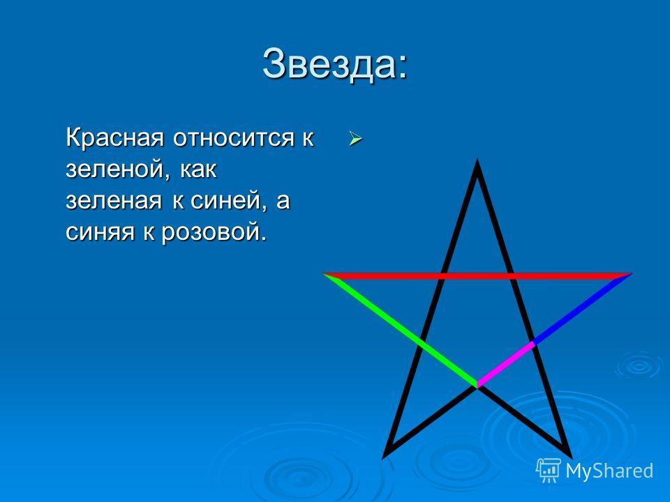 Звезда: Красная относится к зеленой, как зеленая к синей, а синяя к розовой.