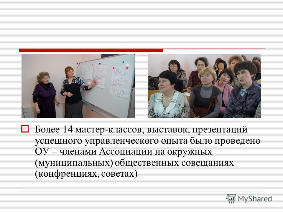 Более 14 мастер-классов, выставок, презентаций успешного управленческого опыта было проведено ОУ – членами Ассоциации на окружных (муниципальных) общественных совещаниях (конфренциях, советах)