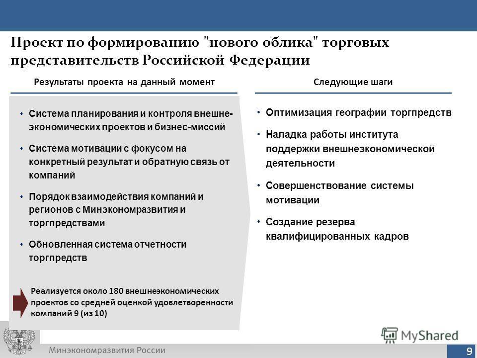 9 Результаты проекта на данный момент Система планирования и контроля внешне- экономических проектов и бизнес-миссий Система мотивации с фокусом на конкретный результат и обратную связь от компаний Порядок взаимодействия компаний и регионов с Минэкон