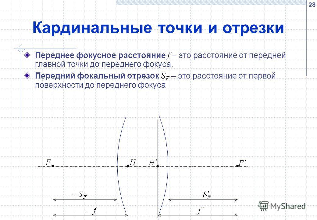 28 Кардинальные точки и отрезки Переднее фокусное расстояние f – это расстояние от передней главной точки до переднего фокуса. Передний фокальный отрезок S F – это расстояние от первой поверхности до переднего фокуса