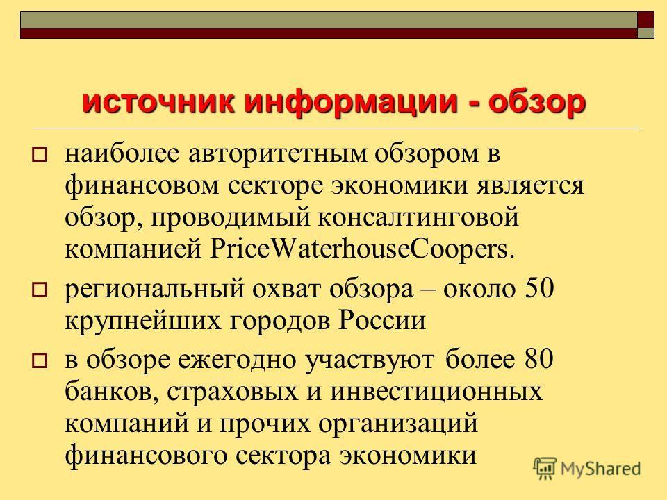источник информации - обзор наиболее авторитетным обзором в финансовом секторе экономики является обзор, проводимый консалтинговой компанией PriceWaterhouseCoopers. региональный охват обзора – около 50 крупнейших городов России в обзоре ежегодно учас