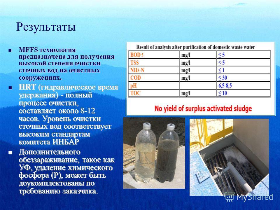 Результаты MFFS технология предназначена для получения высокой степени очистки сточных вод на очистных сооружениях. MFFS технология предназначена для получения высокой степени очистки сточных вод на очистных сооружениях. HRT (гидравлическое время уде