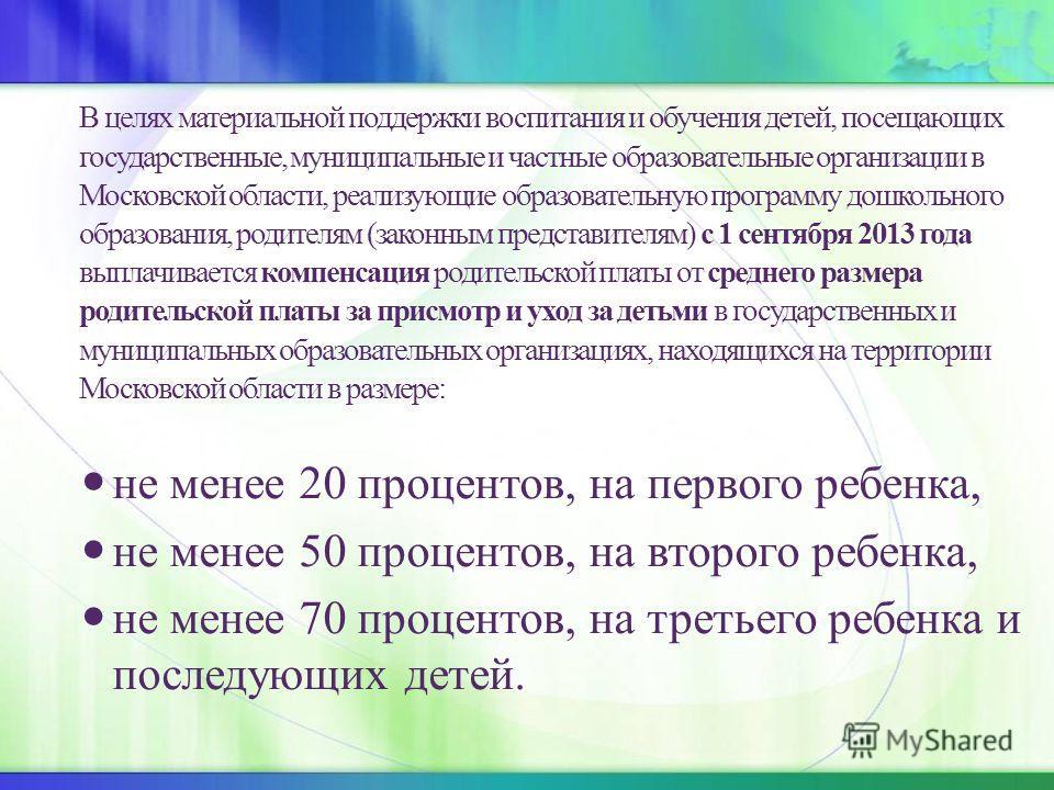 В целях материальной поддержки воспитания и обучения детей, посещающих государственные, муниципальные и частные образовательные организации в Московской области, реализующие образовательную программу дошкольного образования, родителям (законным предс