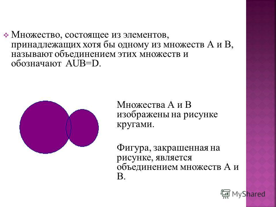 Множество, состоящее из элементов, принадлежащих хотя бы одному из множеств А и В, называют объединением этих множеств и обозначают АUВ=D. Множества А и В изображены на рисунке кругами. Фигура, закрашенная на рисунке, является объединением множеств А