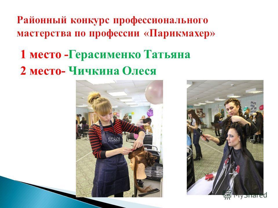 1 место -Герасименко Татьяна 2 место- Чичкина Олеся