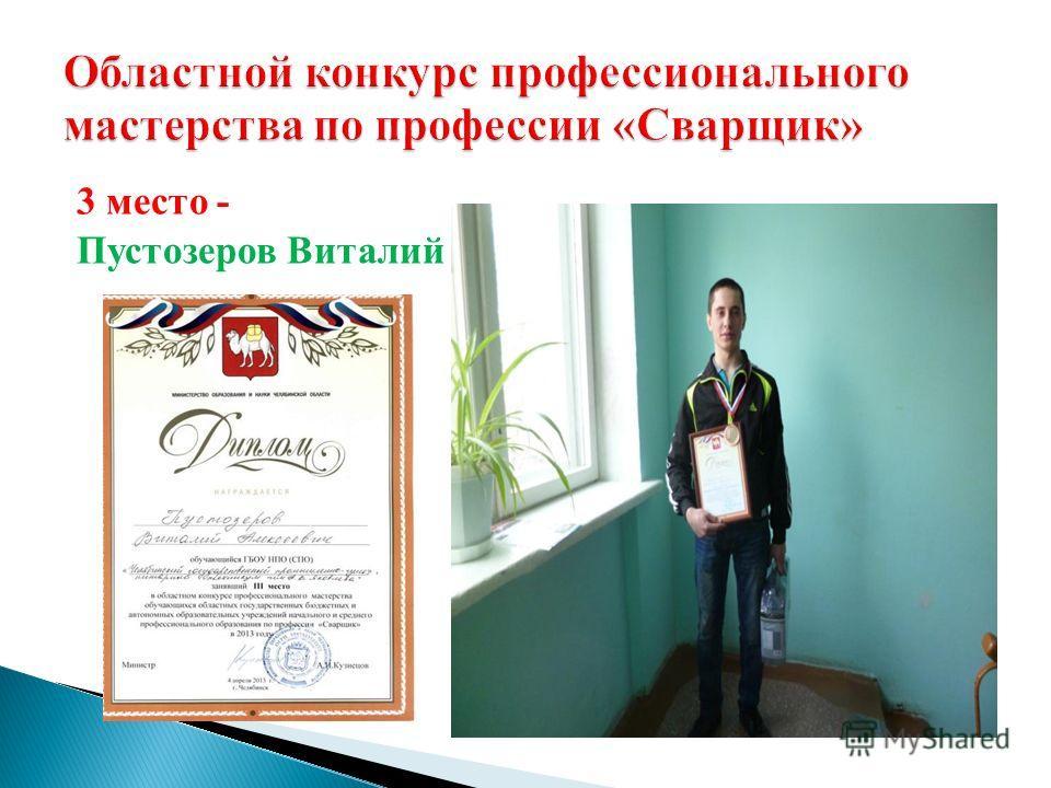 3 место - Пустозеров Виталий