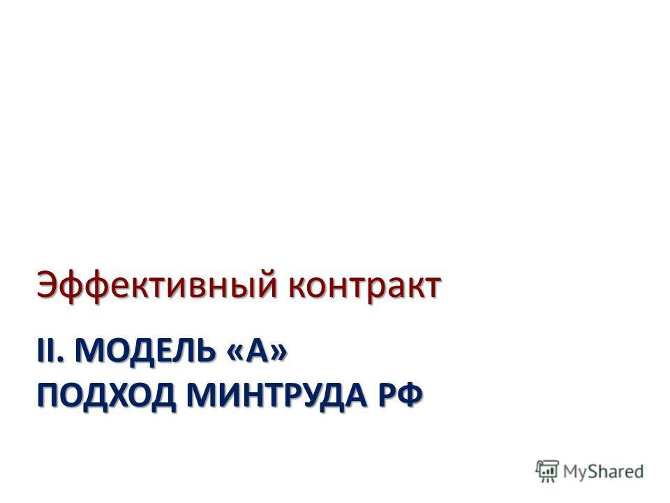 II. МОДЕЛЬ «А» ПОДХОД МИНТРУДА РФ Эффективный контракт