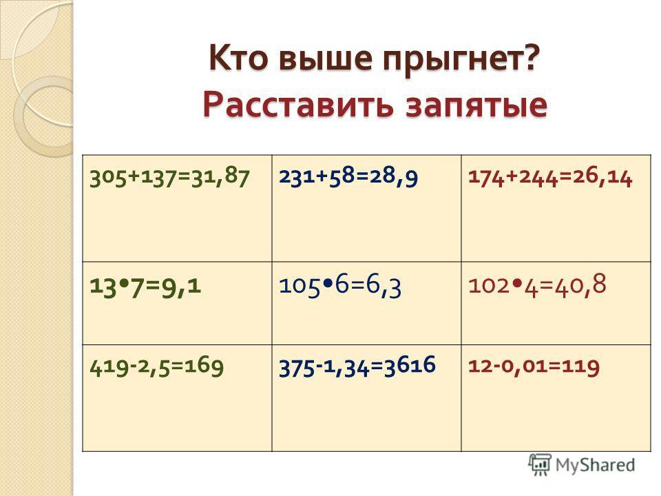 Кто выше прыгнет ? Расставить запятые 305+137=31,87231+58=28,9174+244=26,14 137=9,11056=6,31024=40,8 419-2,5=169375-1,34=361612-0,01=119