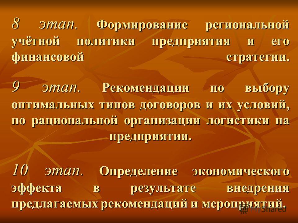 8 этап. Формирование региональной учётной политики предприятия и его финансовой стратегии. 9 этап. Рекомендации по выбору оптимальных типов договоров и их условий, по рациональной организации логистики на предприятии. 10 этап. Определение экономическ