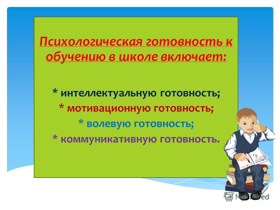 Психологическая готовность к обучению в школе включает: * интеллектуальную готовность; * мотивационную готовность; * волевую готовность; * коммуникативную готовность.