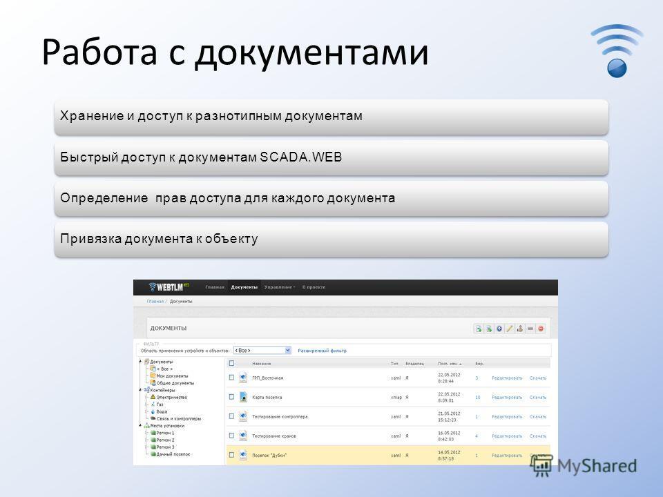 Работа с документами Хранение и доступ к разнотипным документамБыстрый доступ к документам SCADA.WEBОпределение прав доступа для каждого документаПривязка документа к объекту