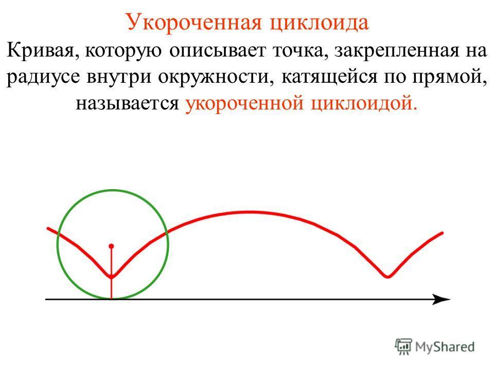 Укороченная циклоида Кривая, которую описывает точка, закрепленная на радиусе внутри окружности, катящейся по прямой, называется укороченной циклоидой.