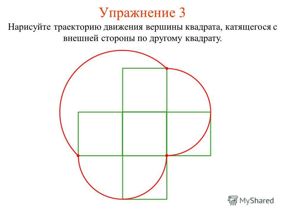 Упражнение 3 Нарисуйте траекторию движения вершины квадрата, катящегося с внешней стороны по другому квадрату.