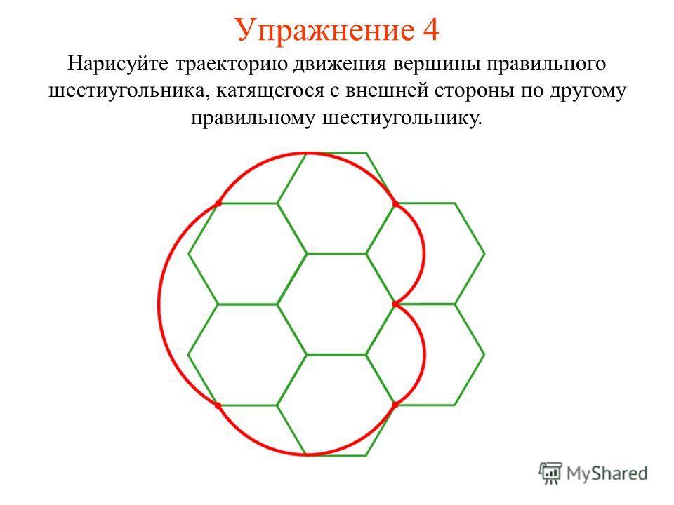 Упражнение 4 Нарисуйте траекторию движения вершины правильного шестиугольника, катящегося с внешней стороны по другому правильному шестиугольнику.