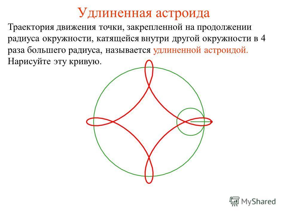 Удлиненная астроида Траектория движения точки, закрепленной на продолжении радиуса окружности, катящейся внутри другой окружности в 4 раза большего радиуса, называется удлиненной астроидой. Нарисуйте эту кривую.