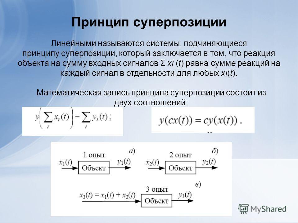 Принцип суперпозиции Линейными называются системы, подчиняющиеся принципу суперпозиции, который заключается в том, что реакция объекта на сумму входных сигналов Σ xi (t) равна сумме реакций на каждый сигнал в отдельности для любых xi(t). Математическ