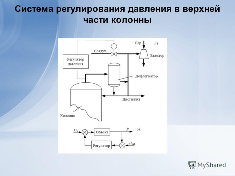 Система регулирования давления в верхней части колонны