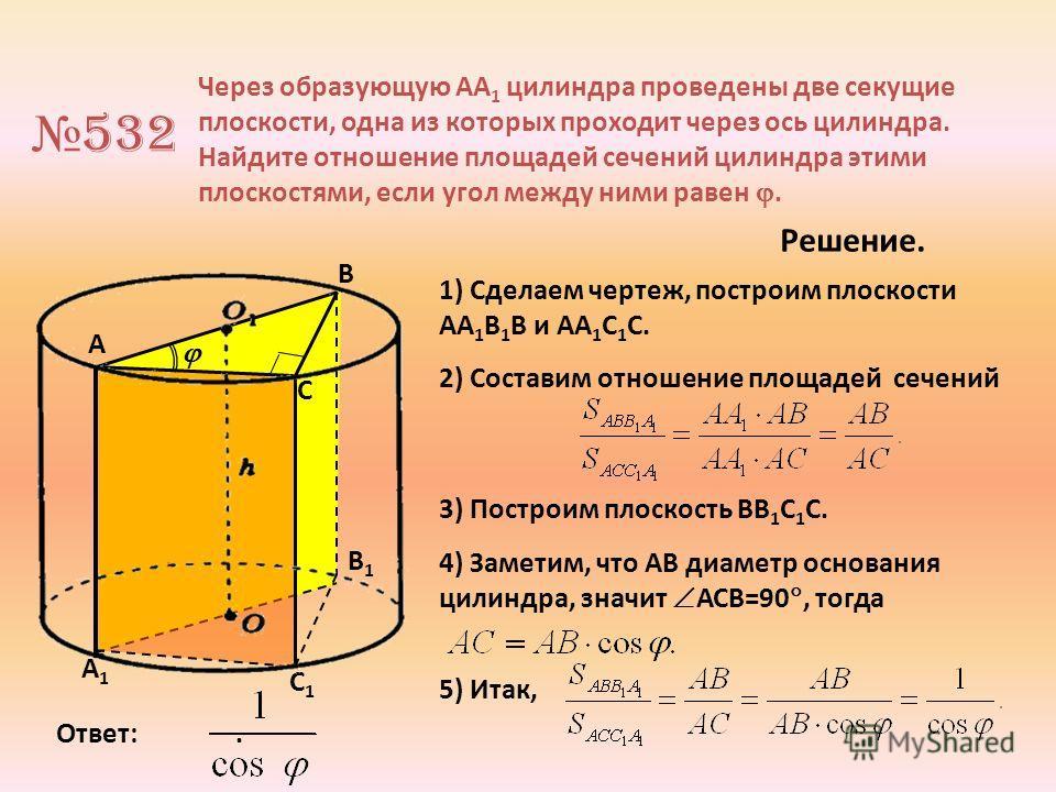 A А1А1 C1C1 В1В1 532 Через образующую АА 1 цилиндра проведены две секущие плоскости, одна из которых проходит через ось цилиндра. Найдите отношение площадей сечений цилиндра этими плоскостями, если угол между ними равен. В C Решение. 1) Сделаем черте