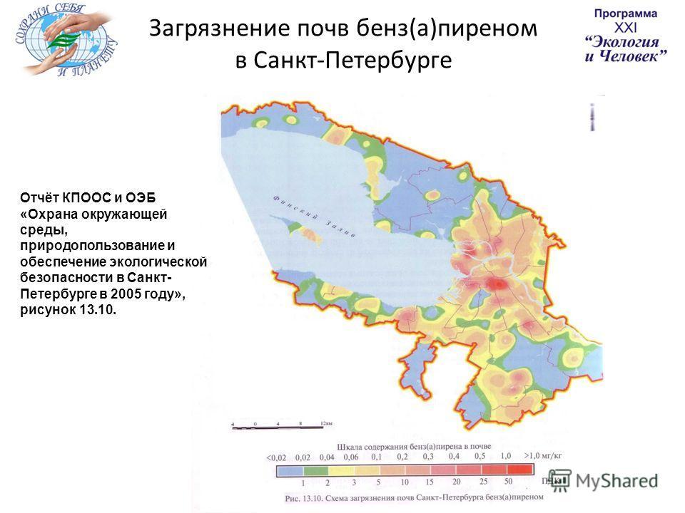 Загрязнение почв бенз(а)пиреном в Санкт-Петербурге Отчёт КПООС и ОЭБ «Охрана окружающей среды, природопользование и обеспечение экологической безопасности в Санкт- Петербурге в 2005 году», рисунок 13.10.