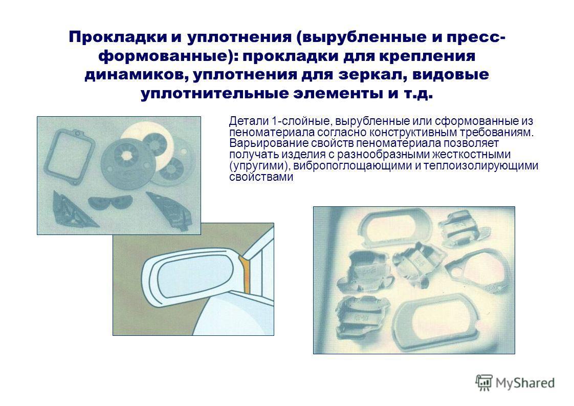 Прокладки и уплотнения (вырубленные и пресс- формованные): прокладки для крепления динамиков, уплотнения для зеркал, видовые уплотнительные элементы и т.д. Детали 1-слойные, вырубленные или сформованные из пеноматериала согласно конструктивным требов