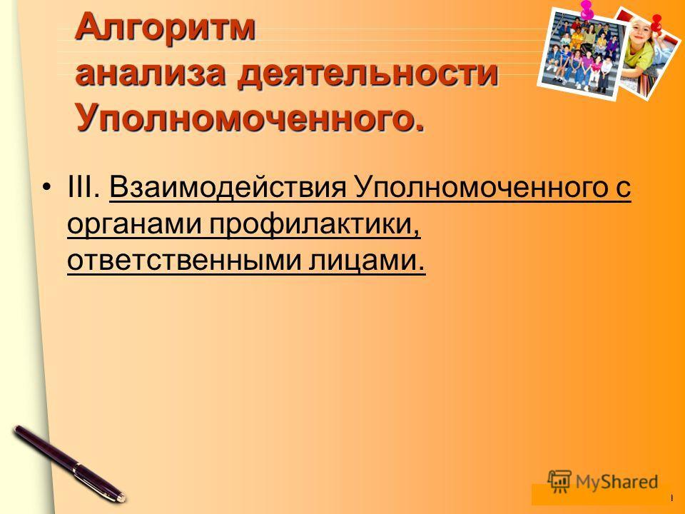 www.themegallery.com Алгоритм анализа деятельности Уполномоченного. III. Взаимодействия Уполномоченного с органами профилактики, ответственными лицами.