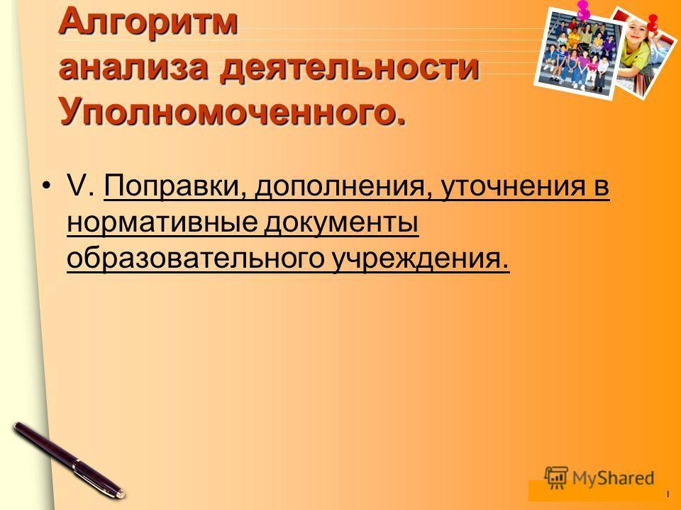www.themegallery.com Алгоритм анализа деятельности Уполномоченного. V. Поправки, дополнения, уточнения в нормативные документы образовательного учреждения.