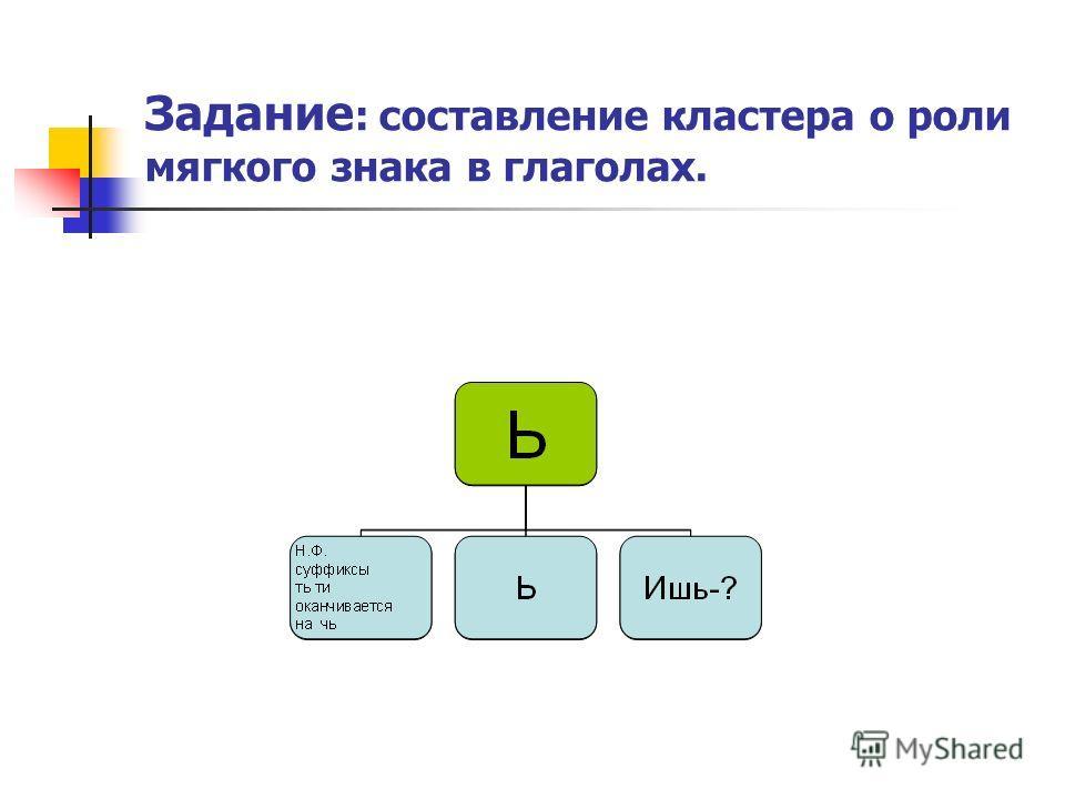 Задание : составление кластера о роли мягкого знака в глаголах.