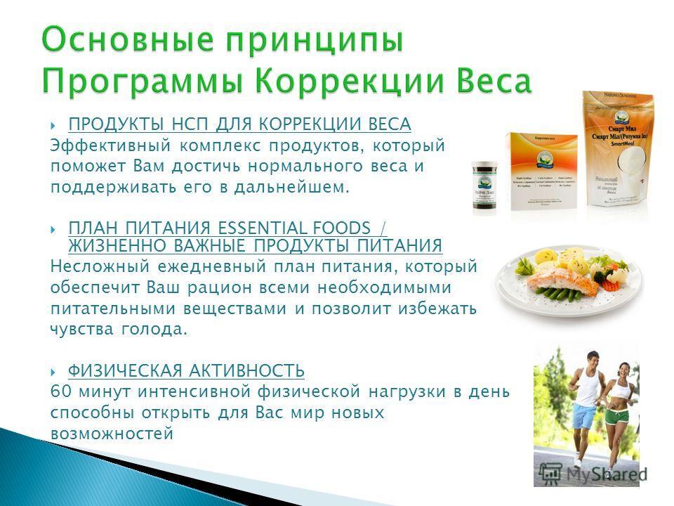 ПРОДУКТЫ НСП ДЛЯ КОРРЕКЦИИ ВЕСА Эффективный комплекс продуктов, который поможет Вам достичь нормального веса и поддерживать его в дальнейшем. ПЛАН ПИТАНИЯ ESSENTIAL FOODS / ЖИЗНЕННО ВАЖНЫЕ ПРОДУКТЫ ПИТАНИЯ Несложный ежедневный план питания, который о