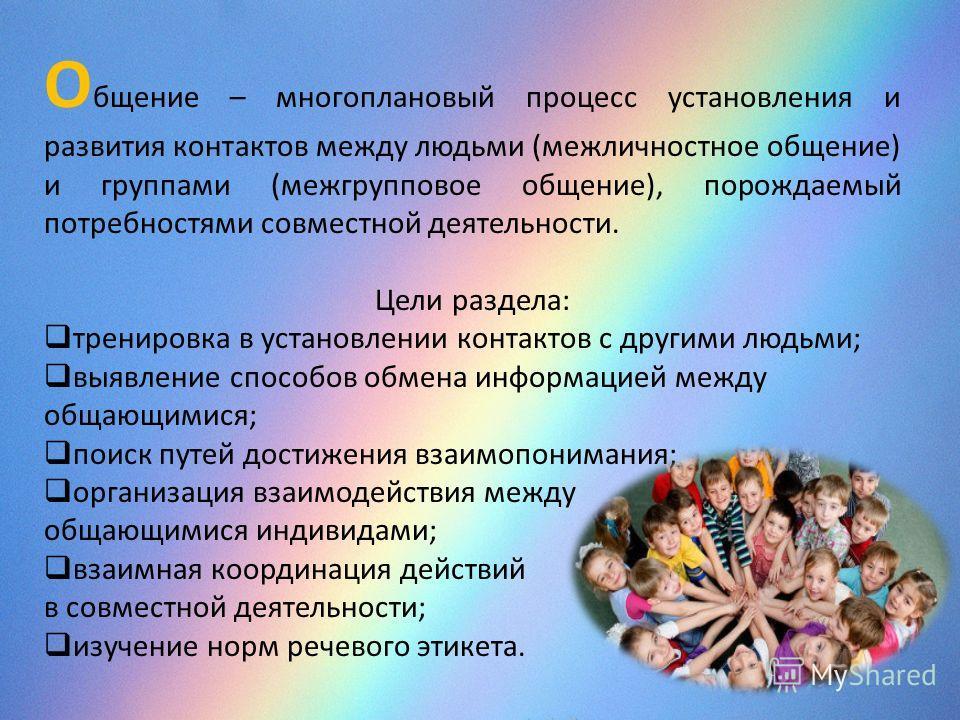 О бщение – многоплановый процесс установления и развития контактов между людьми (межличностное общение) и группами (межгрупповое общение), порождаемый потребностями совместной деятельности. Цели раздела: тренировка в установлении контактов с другими