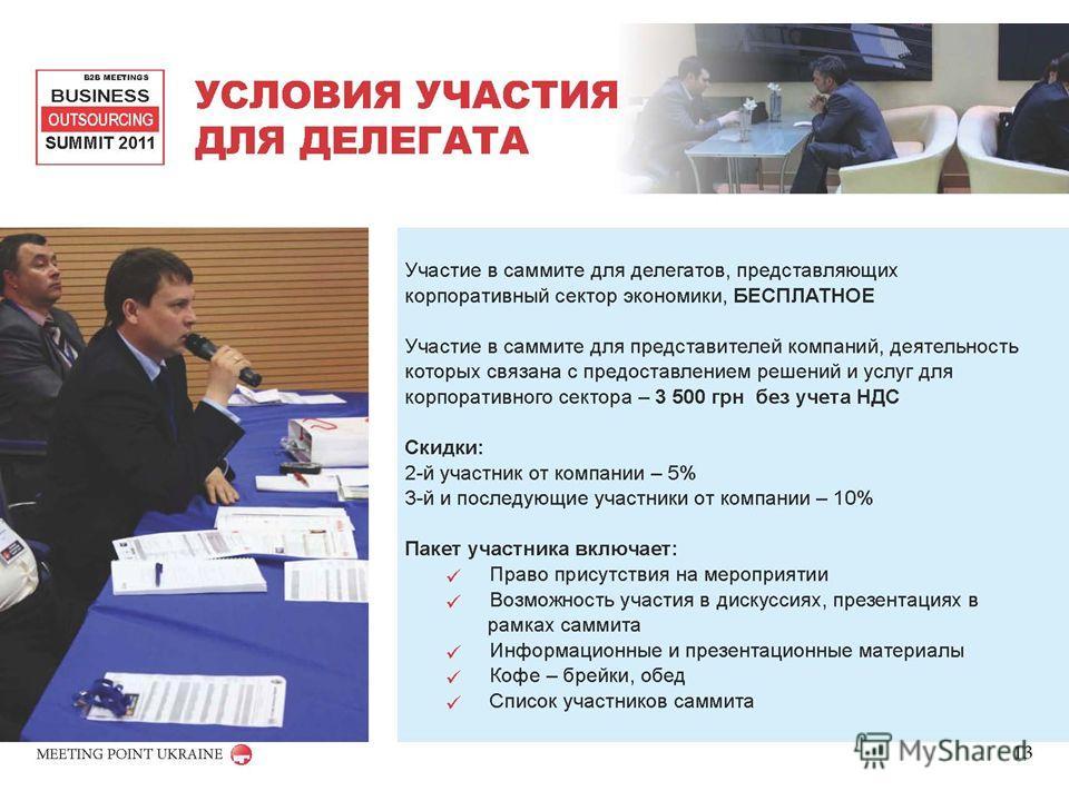 УСЛОВИЯ УЧАСТИЯ ДЛЯ ДЕЛЕГАТА B2B MEETINGS BUSINESS OUTSOURCING SUMMIT 2011 MEETING POINT UKRAINE Участие в саммите для делегатов, представляющих корпоративный сектор экономики, БЕСПЛАТНОЕ Участие в саммите для представителей компаний, деятельность ко
