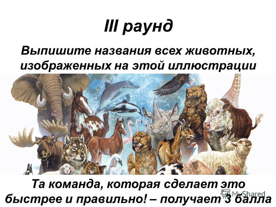III раунд Выпишите названия всех животных, изображенных на этой иллюстрации Та команда, которая сделает это быстрее и правильно! – получает 3 балла