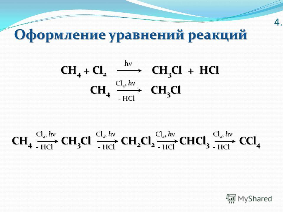 Оформление уравнений реакций 4. CH 4 CH 3 Cl CH 4 CH 3 Cl CH 2 Cl 2 CHCl 3 CCl 4 CH 4 + Cl 2 CH 3 Cl + HCl hνhνhνhν Cl 2, h ν - HCl Cl 2, h ν - HCl Cl 2, h ν - HCl Cl 2, h ν - HCl