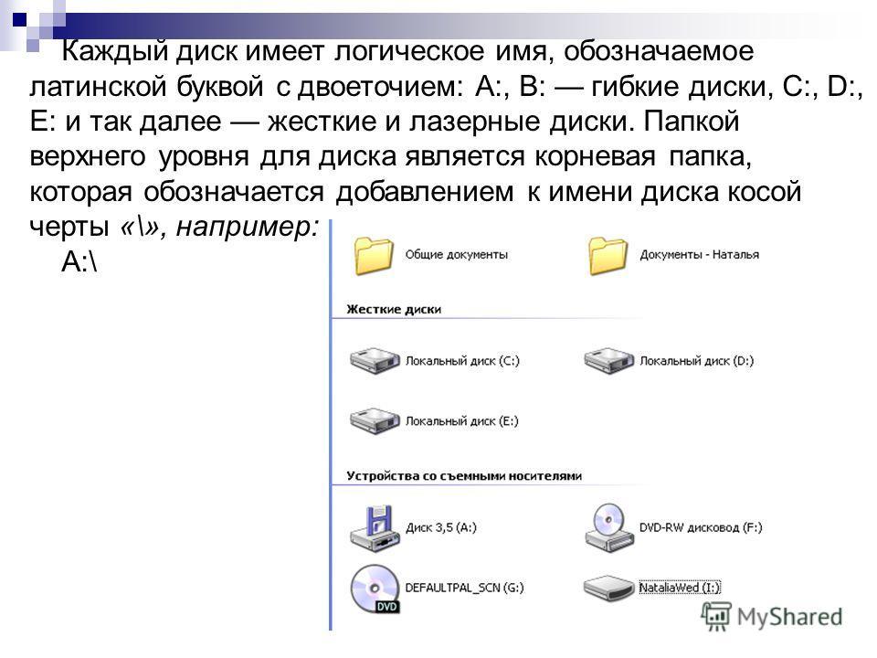 Каждый диск имеет логическое имя, обозначаемое латинской буквой с двоеточием: А:, В: гибкие диски, С:, D:, Е: и так далее жесткие и лазерные диски. Папкой верхнего уровня для диска является корневая папка, которая обозначается добавлением к имени дис
