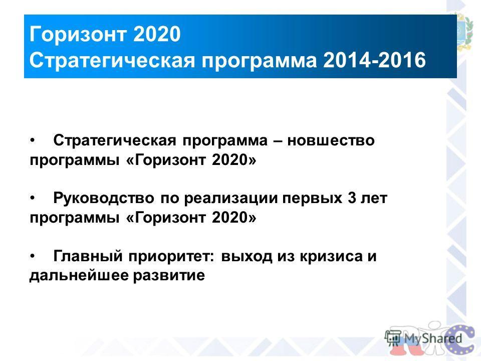 Горизонт 2020 Стратегическая программа 2014-2016 Стратегическая программа – новшество программы «Горизонт 2020» Руководство по реализации первых 3 лет программы «Горизонт 2020» Главный приоритет: выход из кризиса и дальнейшее развитие