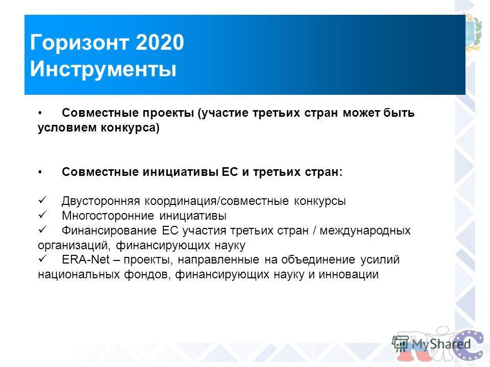 Горизонт 2020 Инструменты Совместные проекты (участие третьих стран может быть условием конкурса) Совместные инициативы ЕС и третьих стран: Двусторонняя координация/совместные конкурсы Многосторонние инициативы Финансирование ЕС участия третьих стран