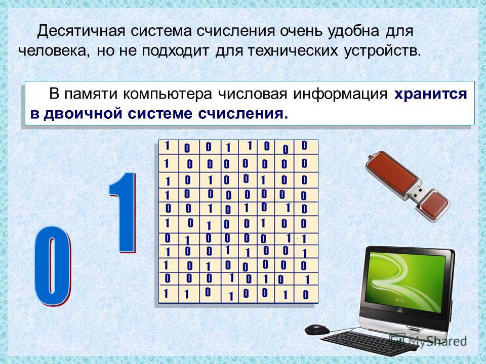 В памяти компьютера числовая информация хранится в двоичной системе счисления. Десятичная система счисления очень удобна для человека, но не подходит для технических устройств.