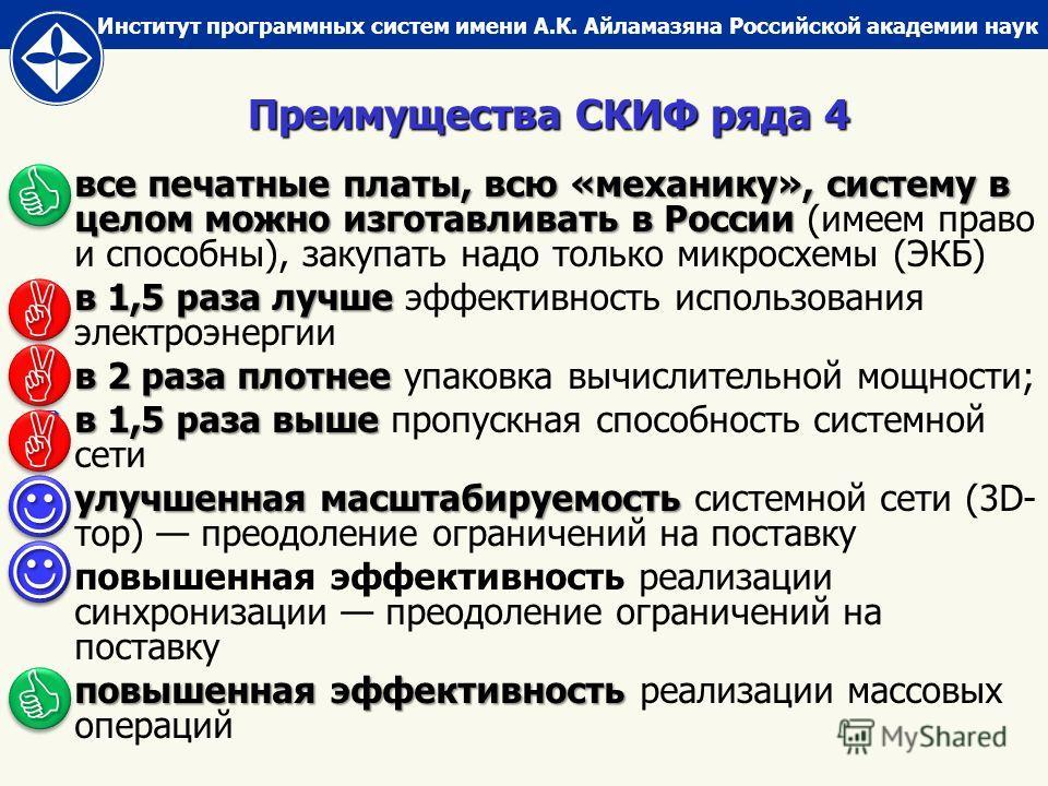 Институт программных систем имени А.К. Айламазяна Российской академии наук все печатные платы, всю «механику», систему в целом можно изготавливать в России все печатные платы, всю «механику», систему в целом можно изготавливать в России (имеем право