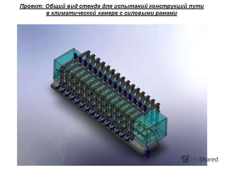 Проект: Общий вид стенда для испытаний конструкций пути в климатической камере с силовыми рамами