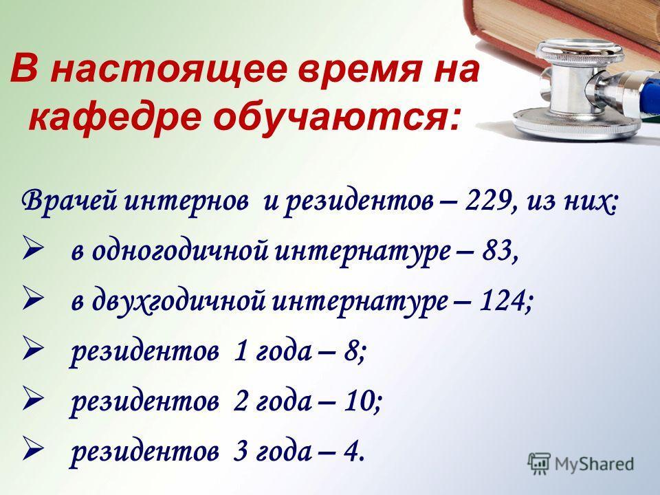 В настоящее время на кафедре обучаются: Врачей интернов и резидентов – 229, из них: в одногодичной интернатуре – 83, в двухгодичной интернатуре – 124; резидентов 1 года – 8; резидентов 2 года – 10; резидентов 3 года – 4.