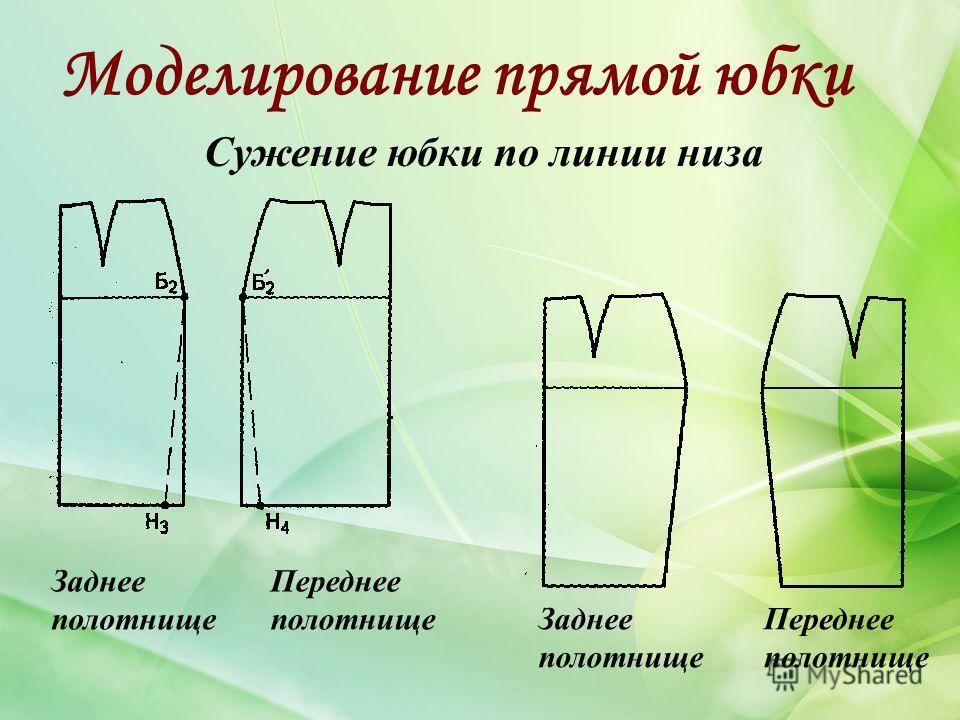 Моделирование прямой юбки Сужение юбки по линии низа Заднее полотнище Переднее полотнище