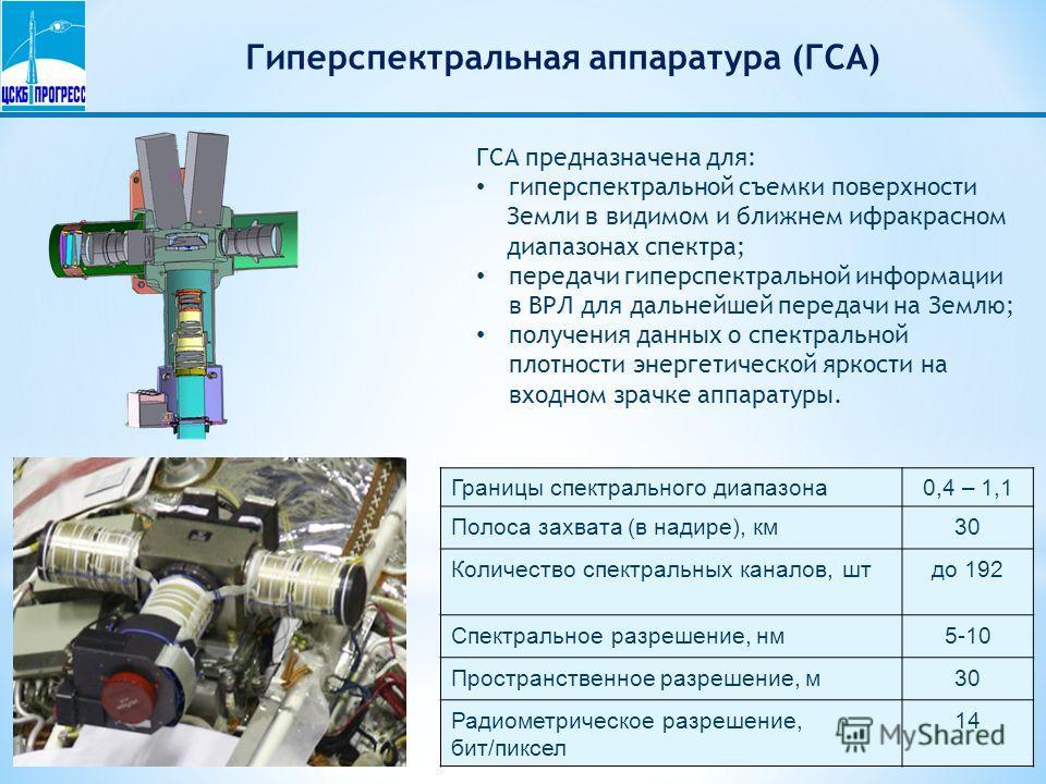 Гиперспектральная аппаратура (ГСА) ГСА предназначена для: гиперспектральной съемки поверхности Земли в видимом и ближнем ифракрасном диапазонах спектра; передачи гиперспектральной информации в ВРЛ для дальнейшей передачи на Землю; получения данных о