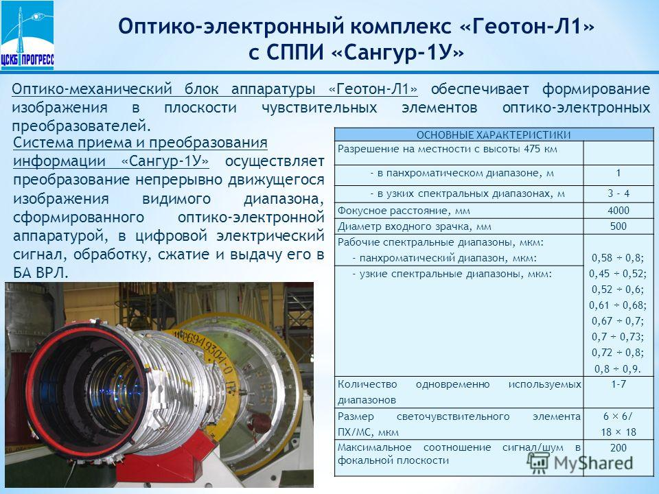 Оптико-электронный комплекс «Геотон-Л1» с СППИ «Сангур-1У» Оптико-механический блок аппаратуры «Геотон-Л1» обеспечивает формирование изображения в плоскости чувствительных элементов оптико-электронных преобразователей. ОСНОВНЫЕ ХАРАКТЕРИСТИКИ Разреше